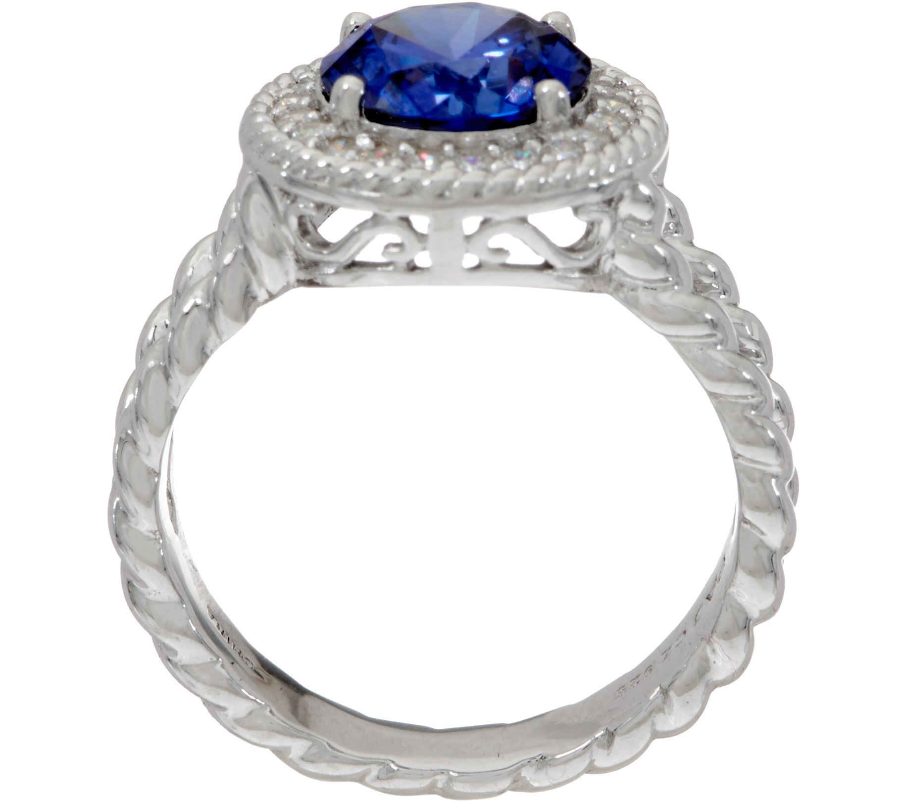 Diamonique and simulated tanzanite ring sterling page 1 qvc nvjuhfo Choice Image