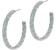 DeLatori Sterling Silver Pave Gemstone Hoop Earrings - J350428