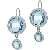 DeLatori Sterling Silver Rose Quartz or Blue Topaz Drop Earrings - J352328