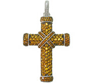 Judith Ripka Sterling Pave Citrine Cross Enhancer - J376828