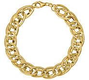 Italian Gold Textured Oval Bracelet 14K, 5.4g - J377628