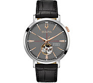 Bulova Mens Classic Automatic Watch, Black Leather Strap - J378528
