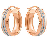 Italian Gold 1-1/8 Rose Glimmer Oval Hoop Earrings 14K, 4.9g - J382228