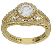 Judith Ripka 14K Clad Diamonique Round Halo Ring - J383228