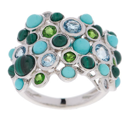 Multi-Gemstone Bubble Design Sterling Band Ring
