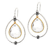 Michael Dawkins Sterling/14K Plated Crystal Quartz Pear Shaped Earrings - J279429