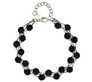 Black Spinel Faceted Bead & Liquid Silver Sterling Bracelet - J285229