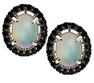 1.80 ct tw Ethiopian Opal & Black Spinel Sterling Stud Earrings - J286429