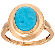 Sleeping Beauty Turquoise Cameo Carved Ring 14K Gold - J288729