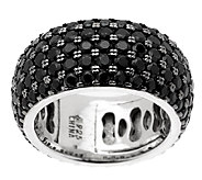 3.90 ct tw Black Spinel 5-Row Sterling Eternity Ring - J289129