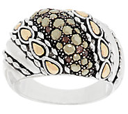 JAI Sterling & 14K Accent Marcasite & Diamonique Ring - J290129