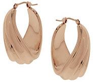As Is Oro Nuovo Ribbed Twist Oval Hoop Earrings, 14K Gold - J292629
