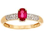 0.30 ct Oval Thai Ruby & 1/10 cttw Diamond Ring, 14K Gold - J295029