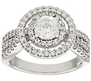 Diamonique 100-Facet Double Halo Ring, Platinum Clad - J318529