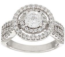 Epiphany Diamonique 100-Facet Double Halo Ring