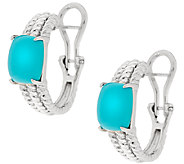 Sleeping Beauty Turquoise Sterling Rope Design Hoop Earrings - J318629