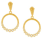 Judith Ripka Sterling & 14K Clad 1/2 ct tw Diamonique Hoop Earrings - J319929