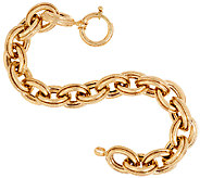 14K Gold 7-1/4 Polished & Textured Oval Rolo Link Bracelet, 15.5g - J321529