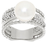 Honora Cultured Pearl 10.0mm Button Crystal Twist Bronze Ring - J322229