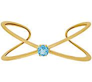 Veronese 18K Clad Small Gemstone X-Design Cuff Bracelet - J322829