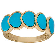 Sleeping Beauty Turquoise 5-Stone Heart Design Ring 14K Gold - J323229