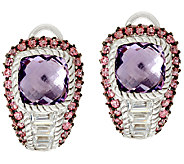 Judith Ripka Sterling Amethyst & Pave Earrings - J324029