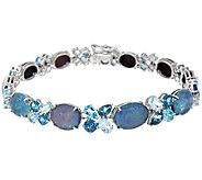 Australian Opal Triplet & Blue Topaz 8 Tennis Bracelet 8.50 cttw - J324229