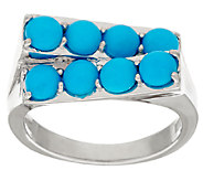 Sleeping Beauty Turquoise Geometric Design Sterling Silver Ring - J324529