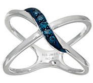 Blue X-Design Diamond Ring, Sterling, 1/10 cttw, by Affinity - J326529