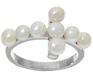 Honora Cultured Pearl 4.0mm Horizontal Cross Sterling Ring - J327129