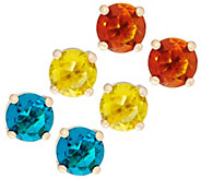 C. Wonder Set of 3 Faceted Crystal Stud Earrings - J328829