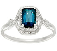 Emerald Cut Blue Tourmaline & Diamond Ring 14K Gold 1.00 ct - J329329