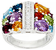 Judith Ripka Sterling Silver 4.0 cttw Multi-gemstone Diamonique Ring - J329729