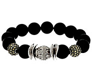 Luv Tia Sterling & Black Onyx Bead Stretch Bracelet - J330229