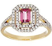 Emerald Cut Pink Tourmaline & Pave Diamond Ring, 14K Gold 0.50 ct - J331229