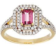 Emerald Cut Pink Tourmaline & Pave Diamond Ring, 14K Gold 0.50 ct - J331229