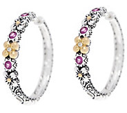 Barbara Bixby Sterling & 18K Flower_0.55 cttw Gemstone Hoop Earrings - J331629