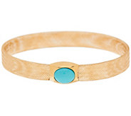 As Is Vicenza Gold Turquoise Cabochon Mesh Stretch Bangle 14K - J331729