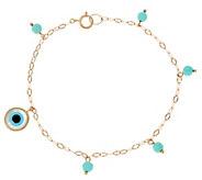 14K Gold Turquoise & Evil Eye Bracelet or Anklet - J334829