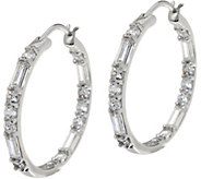 Diamonique 1 Round and Baguette Hoop Earrings, Platinum Clad - J334929