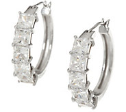Diamonique Fancy Cut Hoop Earrings, Sterling - J335029
