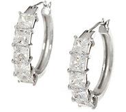 Diamonique Fancy Cut Hoop Earrings, Sterling - J335029