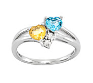 Sterling Choice of Double Heart Shaped GemstoneRing - J336629