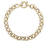 EternaGold 7 Textured Rolo Bracelet 14K Gold,5.8g - J337429