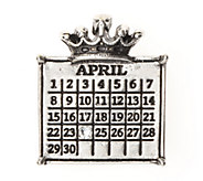 Personalized Silvertone Calendar Crown Pendant - J337729