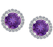 Premier 7mm Gemstone & Diamond Halo Stud, 14K White Gold - J338129