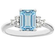Premier Emerald-Cut 1.20cttw Aquamarine & Diamond Ring, 14K - J338229