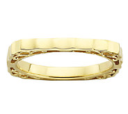Simply Stacks Sterling & 18K Gold Plated Scalloped Square Ring - J338929