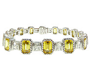 Judith Ripka Sterling 7-1/2 Yellow Diamonique Tennis Bracelet - J339529