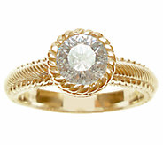 Judith Ripka Sterling/14K Clad Diamonique Solitaire Ring - J339829
